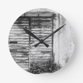 Abandoned shop forgotten bw round clock