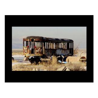 Abandoned train postcard