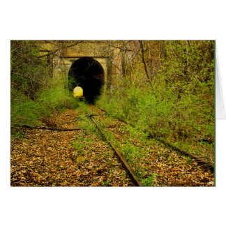 Abandoned train tunnel note card