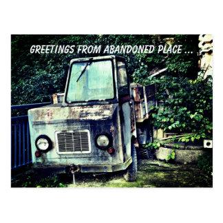 Abandoned truck postcard