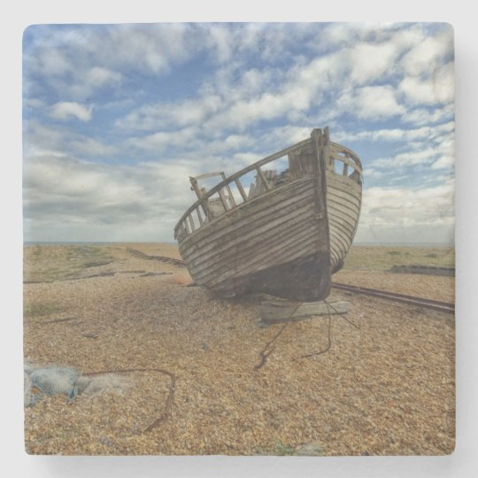 Abandoned Wooden Fishing Boat | Dungeness Stone Coaster