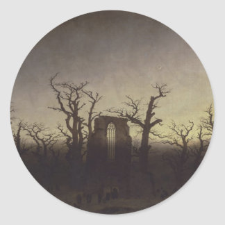Abbey among Oak Trees by Caspar David Friedrich Round Sticker