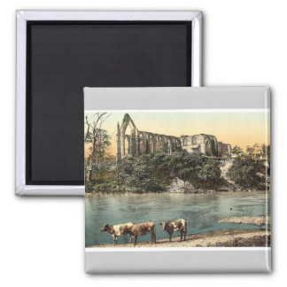 Abbey from the river, Bolton, England vintage Phot Magnet
