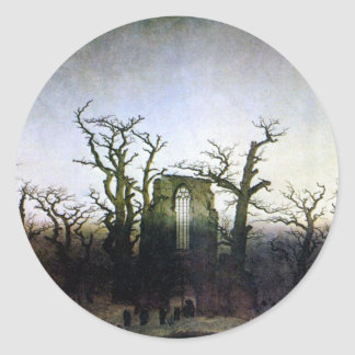 Abbey in an Oak Forest by Caspar David Friedrich Round Sticker