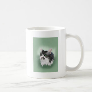 Abbie domestic long hair cat, digital portrait coffee mug