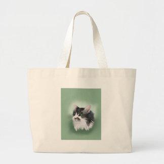 Abbie domestic long hair cat, digital portrait large tote bag