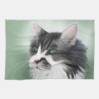 Abbie domestic long hair cat, digital portrait towel