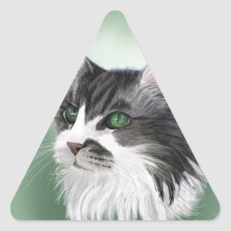 Abbie domestic long hair cat, digital portrait triangle sticker