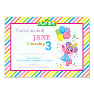 "Abby Striped Birthday 5"" X 7"" Invitation Card"