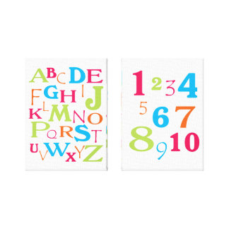 ABC 123 Alphabet Number Pink Orange Lime Turquoise Canvas Print