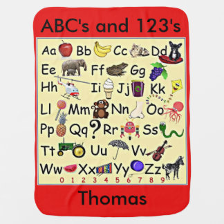 ABC 123 Alphabet Numbers Learning  Baby Blanket