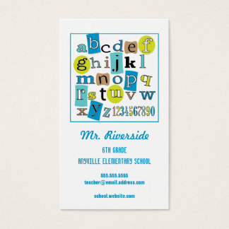 ABC 123 Alphabet Teacher Contact Business Card