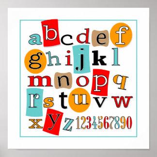 ABC 123 Child's Wall Art Decor Poster
