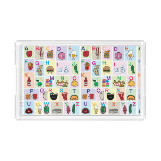 ABC Alphabet learning letters Happy Foods Design Acrylic Tray