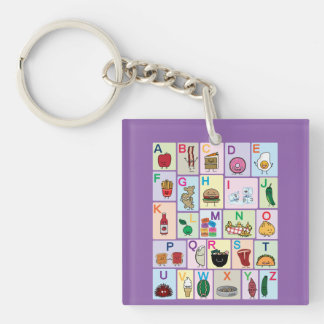 ABC Alphabet learning letters Happy Foods Design Keychain