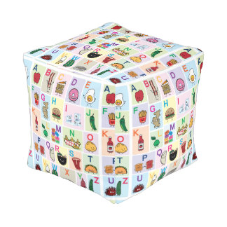 ABC Alphabet learning letters Happy Foods Design Pouf