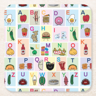 ABC Alphabet learning letters Happy Foods Design Square Paper Coaster