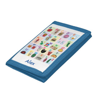 ABC Alphabet learning letters Happy Foods Design Tri-fold Wallet