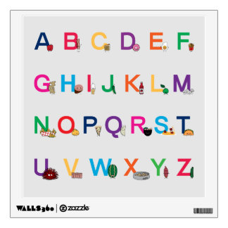 ABC Alphabet learning letters Happy Foods Design Wall Sticker