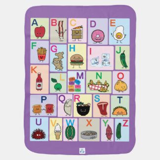 ABC Alphabet learning letters happy foods learn Baby Blanket
