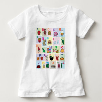 ABC Alphabet learning letters happy foods learn Baby Romper
