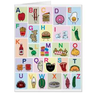 ABC Alphabet learning letters happy foods learn Card