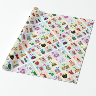 ABC Alphabet learning letters happy foods learn Wrapping Paper