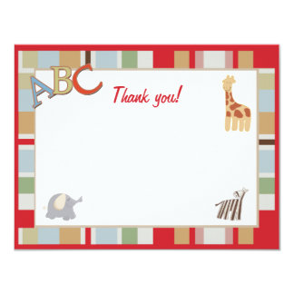 ABC Alphabet Soup Dot Jungle Thank you notes Card
