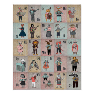 ABC Animal Alphabet Band Poster