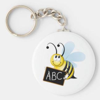 abc Bee Basic Round Button Keychain