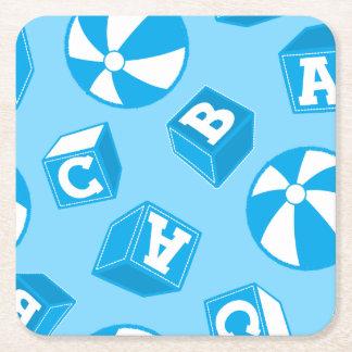 ABC blocks and balls Square Paper Coaster