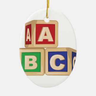 ABC Blocks Ceramic Oval Ornament