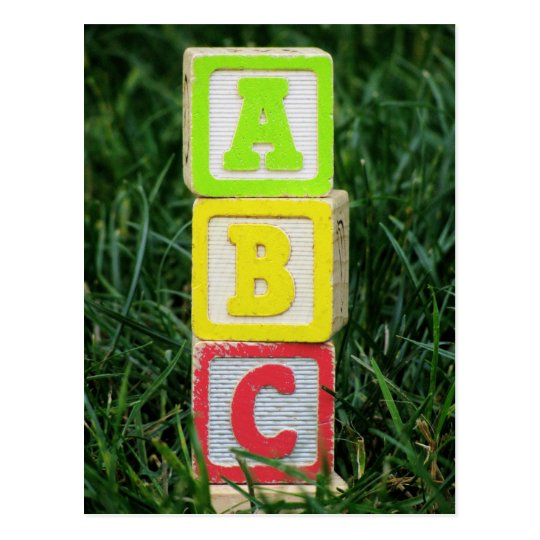 ABC Blocks In Grass Postcard