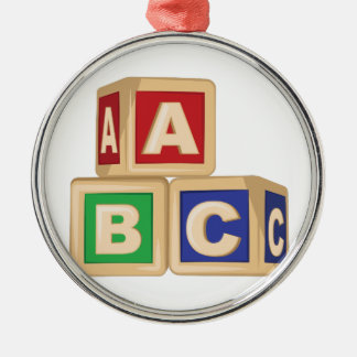 ABC Blocks Silver-Colored Round Ornament