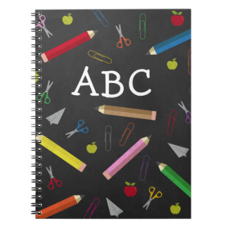 ABC Chalkboard Apple Rainbow Scissors Paper Clips Notebook