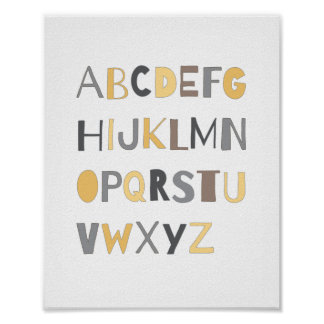 ABC Colourful Alphabet Nursery Art Decor | Boy Poster