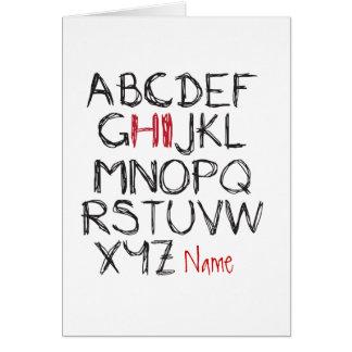 ABC Hi Personalised name greeting Card