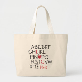 ABC I Heart You Personalised Large Tote Bag