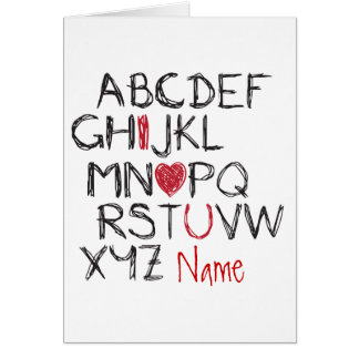 ABC I Heart You Personalised Valentine Card