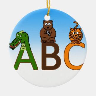 ABC letters cute cartoon animals illustration Ceramic Ornament