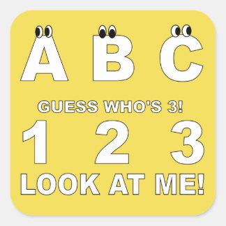 ABC Look who's 3 Print Square Sticker