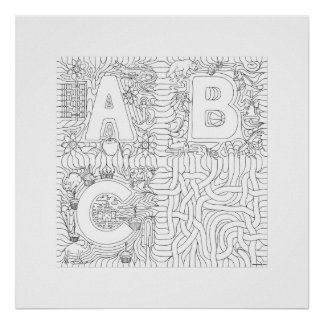 ABC Noodles Color in Poster