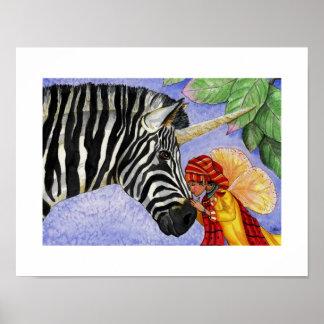 ABC print of Zillo the zebra unicorn