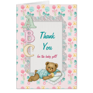 ABC Teddy Baby Shower Thank You Card