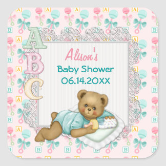 ABC Teddy Pink and Aqua Baby Shower Square Sticker