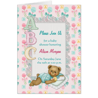 ABC Teddy Shower Invitation Stationery Note Card