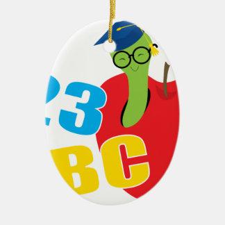 ABC Worm Ceramic Oval Ornament