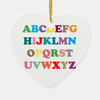 ABC's colorful letters Ceramic Heart Ornament