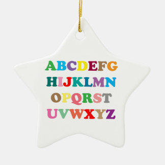 ABC's colorful letters Ceramic Star Ornament