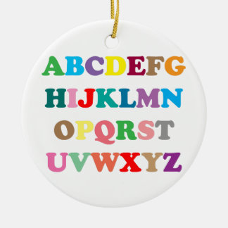 ABC's colorful letters Round Ceramic Ornament